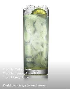 Malibu Rum  Lime Refresher #drinks #cocktails #drinkrecipes