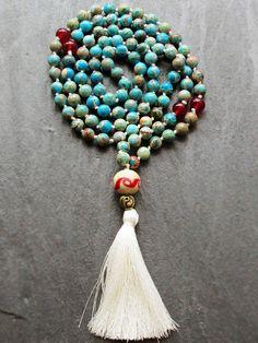 Blue Jasper 108 Mala Beads Necklace Gemstone by GlassHouseLampwork