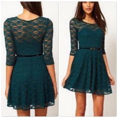 ASOS Dark Green Floral Soft Lace mini Dress Asos Skater Dress in Lace with 3/4 Sleeves.  Made from an easy-care lace fabric,                                                                                                 Material: 89%Nylon,11% Elastane  Boat neckline  Sweetheart styling  Fit and flare shape.                                                                                                 ✅price is firm unless bundle ASOS Dresses Mini