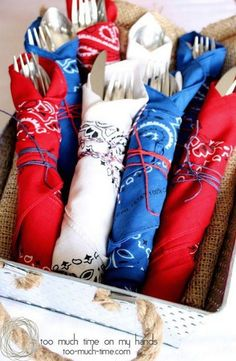 Bandana Napkins add a patriotic touch to your table - great for of July or Memorial Day. (Plus other great party ideas! Fourth Of July Decor, 4th Of July Celebration, 4th Of July Decorations, 4th Of July Party, Memorial Day Decorations, Table Decorations, Centerpieces, 4th Of July Ideas, Americana Decorations
