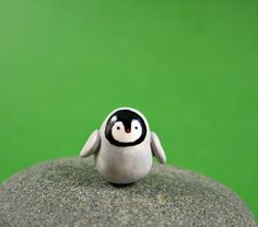 Polymer Clay Animals   Little Baby Penguin - Hand Sculpted Miniature Polymer Clay Animal