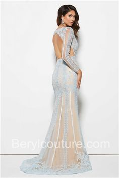 Mermaid-V-Neck-Backless-Long-Sleeve-Light-Blue-Lace-Evening-Prom-Dress-1.jpg (700×1050)