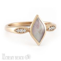 """Lustrous Rose -Zephyr"" Unconventional Pink Mother of Pearl and Rose Gold Engagement Ring Rose Gold Jewelry, Pearl Jewelry, Jewelery, Handmade Engagement Rings, Rose Gold Engagement Ring, Bohemian Jewelry, Boho, Right Hand Rings, Green Diamond"