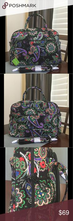 """NWT VERA BRADLEY WEEKENDER TRAVEL BAG NWT Vera Bradley Weekender  Kiev paisley  18 ½"""" w x 12 ½"""" h x 8 ½"""" d with 6 ½"""" strap drop and 48 ½"""" removable, adjustable strap  Exterior features two front slip pockets, two back slip pockets and a trolley sleeve. Interior features five slip pockets. Zip closure.   Smoke/pet free home Vera Bradley Bags Travel Bags"""