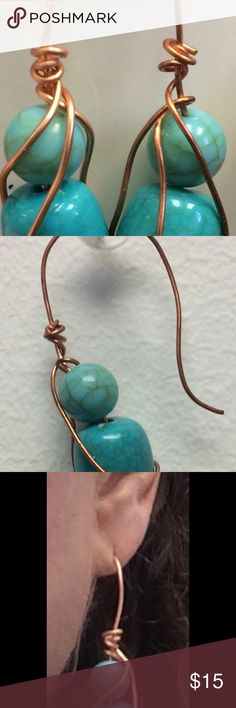 Stunning Turquoise colored stone with Copper Wire Handcrafted Polished Stone with Copper, made with love ! curly shurly boutique Jewelry Earrings