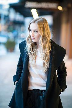 eatsleepwear, curls, john-frieda black coat clothing apparel style women outfit