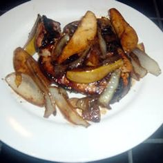 Grilled thin-cut pork chops with balsamic caramelized pears...I made this tonight, and YUM!  It definitely made those cheapo-thin cut chops taste delicious!