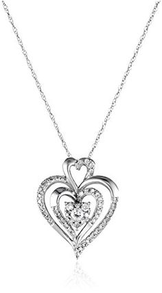 10k-White-Gold-Diamond-Heart-Pendant-Necklace-14-cttw-I-J-Color-I2-I3-Clarity-0