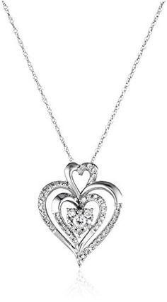 10k White Gold Diamond Heart Pendant Necklace (1/4 cttw I-J Color I2-I3 Clarity) highest rating deal Diamond highest rating deal