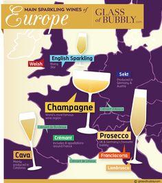 Main Sparkling Wines of Europe #Champagne #EnglishSparkling #Prosecco #Francicorta #Cava #Cremant #Sekt #Lambrusco
