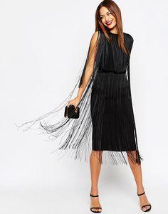 Изображение 4 из Платье миди с бахромой ASOS