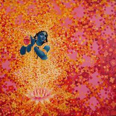 Saatchi Art: Krishna with Brahmajyoti Painting by Attila Kővári Shree Krishna Wallpapers, Radha Krishna Wallpaper, Baby Krishna, Krishna Radha, Jai Shree Krishna, Hanuman, Indian Gods, Indian Art, Pichwai Paintings