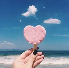 Summer beach vibes: Pink heart ice-cream.