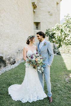 Wild Natural Bouquet Lilac Purple Peach Sweetheart Dress Bride Updo Grey Groom | Romantic Castle Switzerland Wedding http://kbalzerphotography.com/