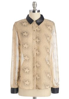 Stellar Choice Top - Mid-length, Sheer, Faux Leather, Woven, Cream, Black, Novelty Print, Buttons, Long Sleeve, Collared
