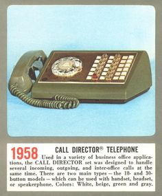 Phone Bell of Pa Service Reps (Residential or Business) used in the Business Office during the 1960's ((1958 Call Director Telephone))