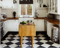 Kitchen inspiration... White lower cabinets with the black and white check floor?