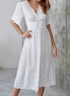 Solid Buttons V-Neckline Midi X-line, Dress - White / XS Super Midi dress White Dress With Sleeves, Half Sleeve Dresses, White Midi Dress, White Dress Summer, Long White Lace Dress, White Dress Casual, Edgy Dress, Black Dress Outfits, Stylish Summer Outfits