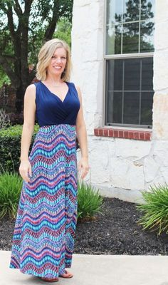 Stitch Fix- Tahj 2fer Knit Maxi Dress by Gilli in a petite I love the vibrant colors in this Maxi.