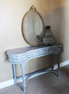 $1499.99  Antique Grey Distressed Kidney Table/Vanity/Desk-