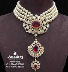 South Sea Pearls with Diamond Pendant from Amarsons Pearls and Jewels For More Info Whatsapp on : Indian Jewellery Design, Bead Jewellery, Pearl Jewelry, Diamond Jewelry, Beaded Jewelry, Jewelry Design, Pearl Choker, India Jewelry, Sterling Jewelry