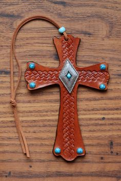 Leather Cross with Turquoise Accent by KellysLeatherDesign on Etsy Turquoise Accents, Turquoise Stone, Horse Supplies, Leather Design, Are You The One, Handmade Items, My Etsy Shop, Brooch, Group