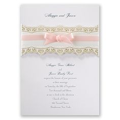 Eyelet Band - Invitation | Invitations By Dawn: A lavish frame in faux gold glitter shines bright like the love you share. This double-sided invitation features elegant accents above and below your wording on the front and a lavish frame around your initial, names and wedding date on the back. Your wording is printed in your choice of colors and fonts. Invitation includes inner and outer envelopes.