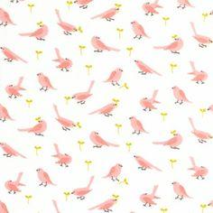 Pink birdies on flannel