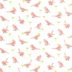 Pink birdies on flannel