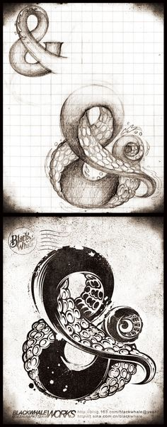 Collaborative Class Project - Each student reinvents an alphabet letter or two as some kind of illusionary surreal object - suggested by the shape of the letter - image inspiration: & octopus by Vane Blackwhale, via Behance