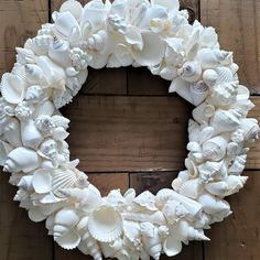 Artisan handmade white seashell wreath for beach decor, coastal decor, nautical decor, seashell decor, seashell gifts Seashell Wreath, Nautical Wreath, Seashell Art, Seashell Crafts, Beach Crafts, Coastal Wreath, Driftwood Wreath, Nautical Rope, Starfish
