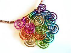 Wire Spirals Necklace! Good idea with the colored wire.