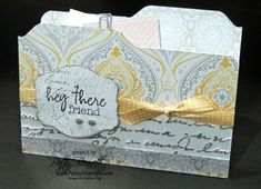 www.PattyStamps.com - Eastern Elegance File Folder card created with the Envelope Punch Board, featuring the Pretty Prints embossing folder.. all from Stampin Up!