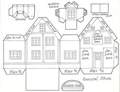 Glitter Houses Plans And Patterns Putz Case Paper House Template Pdf Printable Christmas Village Houses, Putz Houses, Christmas Villages, Christmas Paper, Christmas Home, Christmas Glitter, Christmas Mantles, Victorian Christmas, White Christmas