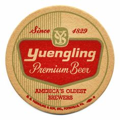 16 Yuengling Premium Bee America& Oldest Brewers Beer Coasters Beer Cap Coasters, Cool Coasters, Beer Table, Sous Bock, Premium Beer, Beer Mats, Vintage Packaging, Beer Recipes, Craft Beer