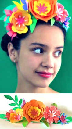 Make a paper flower crown for Cinco de Mayo! Tutorial and templates at happythought.co.uk