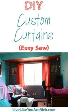Sewing Curtain I love making my own custom curtains. They are very easy and can be customized to fit the window size and the decor of the room. Further, I've found they are most often much less expensive than buying pre-made curtains. No Sew Curtains, Rod Pocket Curtains, Custom Curtains, Easy Sewing Projects, Sewing Tutorials, Diy Projects, Sewing Ideas, Sewing Patterns, Home Decor Items