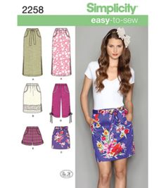 Simplicity Pattern 2258R5-Misses Skirts Pants-Sz 14-22Simplicity Pattern 2258R5-Misses Skirts Pants-Sz 14-22,
