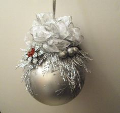 Christmas Ball Ornament 6 Inch With Silver Trimmings With a Touch of Red on Wanelo