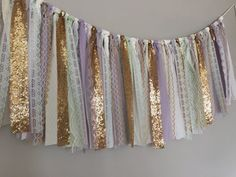 Lavender Mint & Gold Sequin Fabric Garland Banner by ohMYcharley Baby Shower Table, Baby Shower Cakes, Gold Sequin Fabric, Gold Nursery, Mint Nursery, Mint Gold, Purple Gold, Fabric Garland, Baby Shower Decorations For Boys