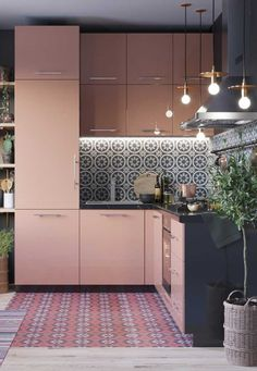 Blush Pink Kitchen: Beautiful Ideas for a Lovely Home Apartment Kitchen, Home Decor Kitchen, Interior Design Kitchen, Home Kitchens, Apartment Interior, Apartment Design, Kitchen Dining, Pink Kitchens, Gold Interior