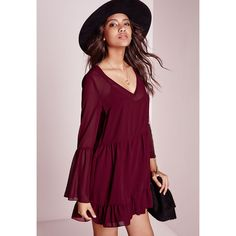 Missguided Chiffon Bell Sleeve Swing Dress ($43) ❤ liked on Polyvore featuring dresses, burgundy, chiffon trapeze dress, purple chiffon dress, tent dress, flutter dress and flounce dress