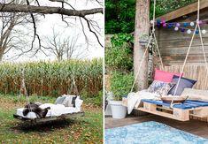 En palle og reb er alt, du behøver for at skabe ultimativ havehygge Home Crafts, Diy And Crafts, Porch Swing, Terrazzo, Outdoor Furniture, Outdoor Decor, Home Goods, Wordpress, Home And Garden