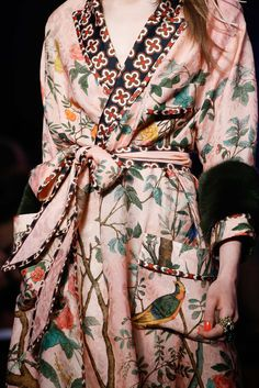 Gucci Spring 2016 We love / we wear graphic bird of paradise and large floral prints and embroidered on nude tonal silks, vintage kimono with appliqué