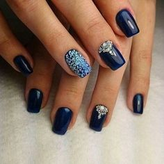 Elegant looking dark blue nail art design. You can see that there are tribe members in … - Diy Nail Designs Nail Art Design Gallery, Best Nail Art Designs, Manicure Y Pedicure, Gel Nails, Matte Nails, Stiletto Nails, Coffin Nails, Acrylic Nails, Nail Design Spring
