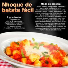 Que tal uma massa no domingo? Separamos pra você essa deliciosa receita de nhoque de batata super fácil!!!!