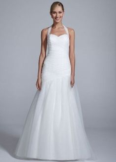 Tulle Fit and Flare Wedding Dress with Pleated Bodice