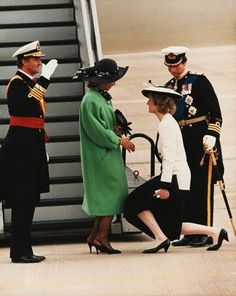 Carl Gustav and Silvia being greeted by Charles and Diana