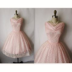 50's Prom Dress // Vintage 1950's Pink Chiffon Lace Cocktail Party Prom Dress