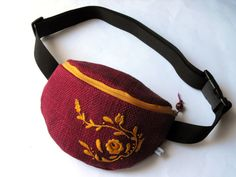 fanny pack with embroidery  winered and mustard by toritextil, $39.00